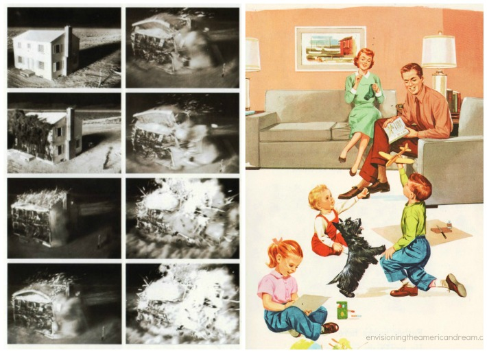 Nuclear Attack Home vintage childrens book illustration 1950s family
