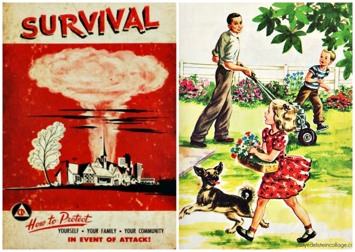 Nuclear Attack Survival Guide vintage childrens book illustration family 1950s