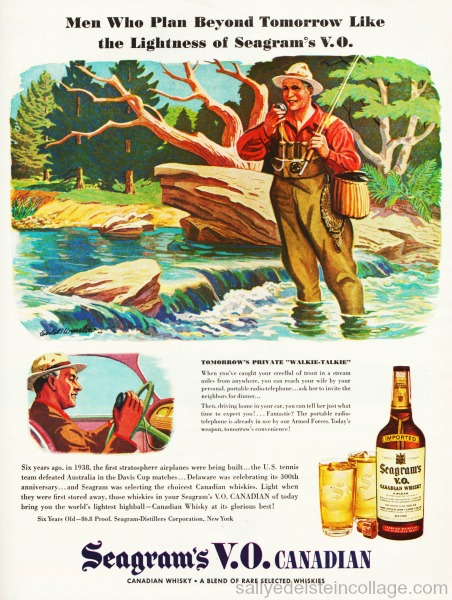 WWII vintage ad, illustration man fishing