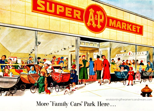 shopping A&Psupermarket illustration suburbia 1950s