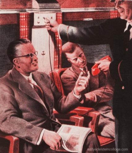 vintage illustration commuter businesman train phone