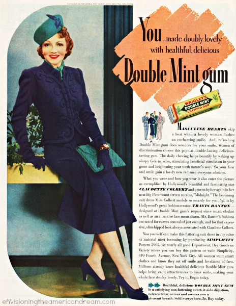 vintage ad Gum Claudette Colbert