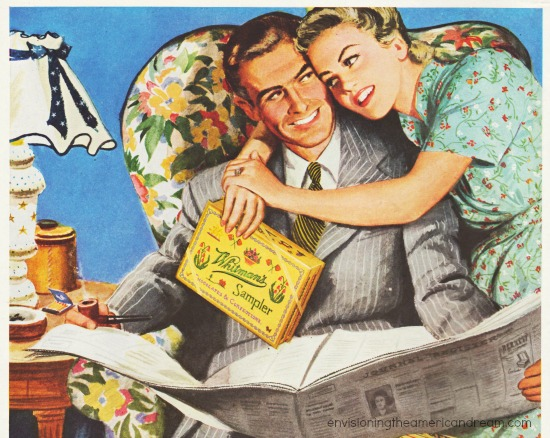 vintage candy ad whitmans chocolates illustration couple