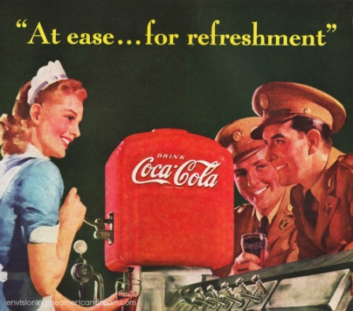 WWII Ad Coca Cola Soldiers illustration