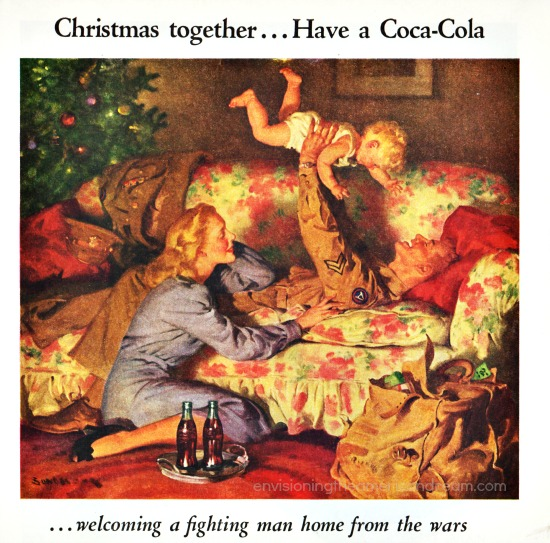 Vintage coke ad illustration WWII soldier home