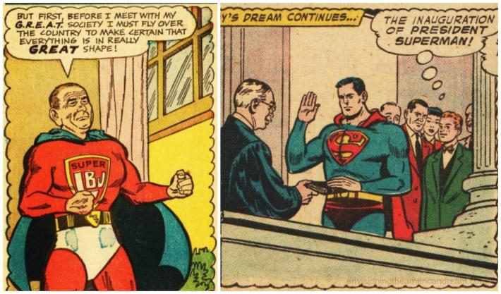comic superlbj Lyndon Johnson and Superman as preseident of USA
