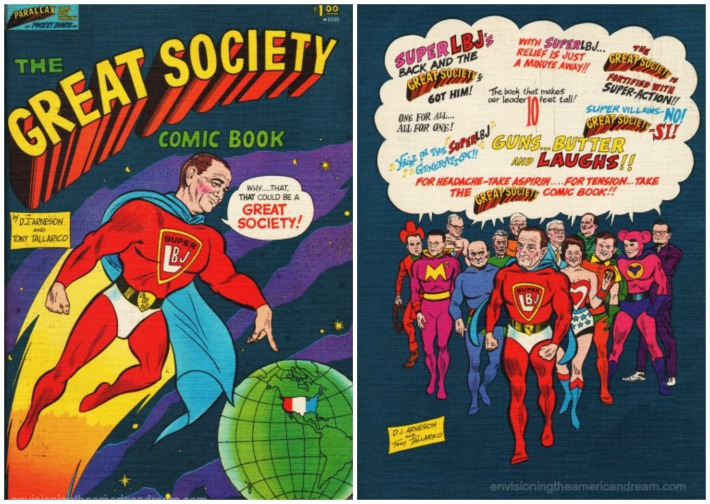 Great Society Comic Book cartoon of LBJ