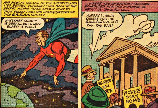 comic LBJ as superhero
