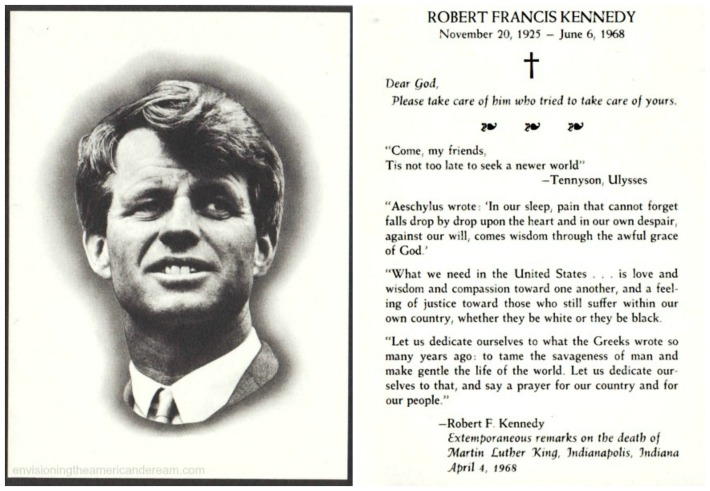 Robert F Kennedy Funeral Card
