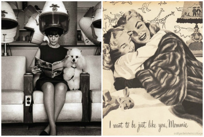 1960s  Beauty Parlor poodle illustration mother daughter