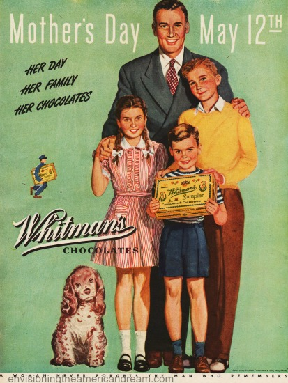 vintage mothers day whitmans ad family illustration