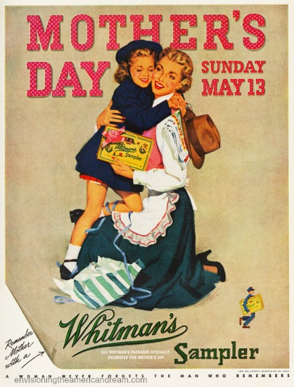 Mothers day whitmans1950s ad  mother and child illustration