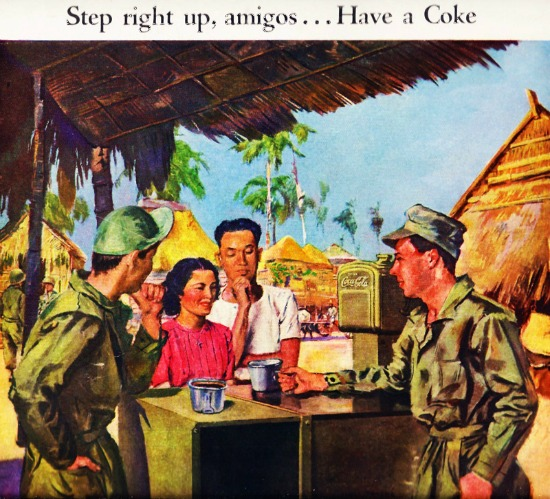 WWII Coke 1945 Phillipines  illustration soldiers