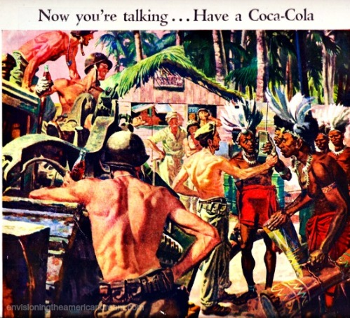 vintage WWII Coke ad 1945 Admiralty Isles illustration soldiers and natives and bottles of Coke