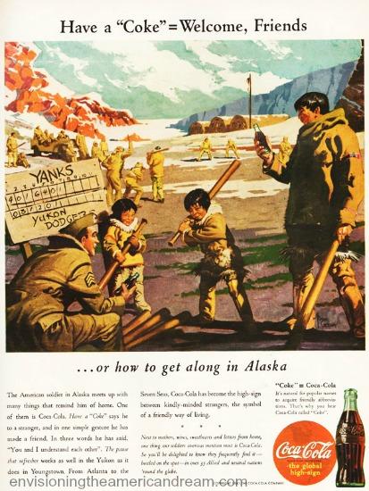 WWII Coke ad Alaska 1943 illustration soldiers eskimos