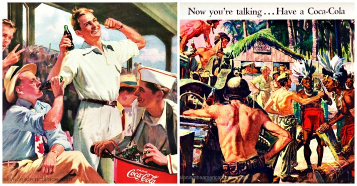 WWII coke ads baseball illustration