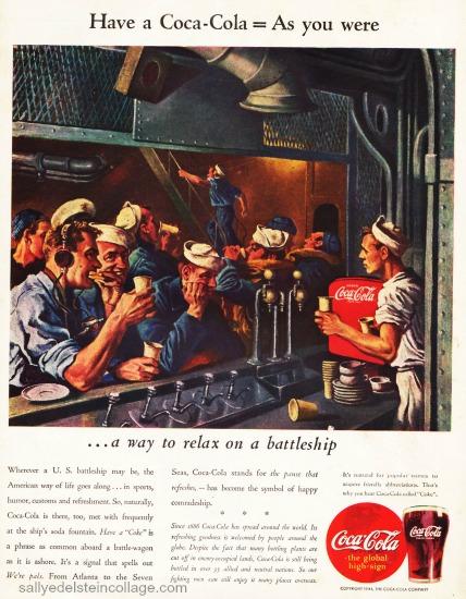 WWII Coke ad battleship illustration sailors 1940s
