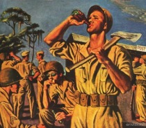 WWII Coke ad 1944 illustration soldier