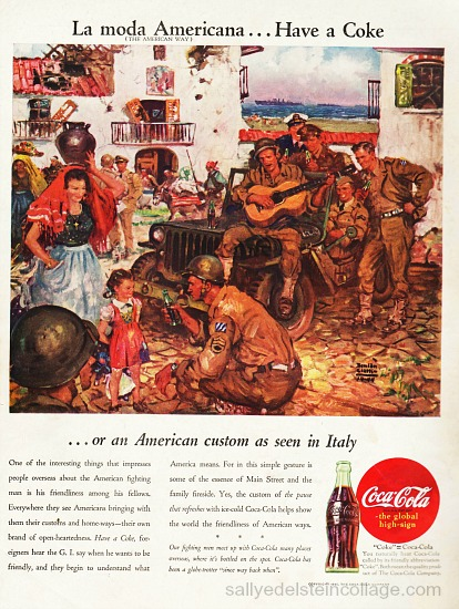 Vintage Coke ad 1945 soldiers in Italy