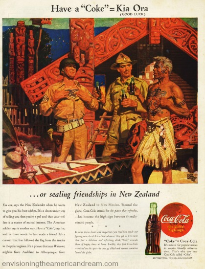 Vintage WWII ad Coke in New Zealand 1944  illustration soldiers and natives