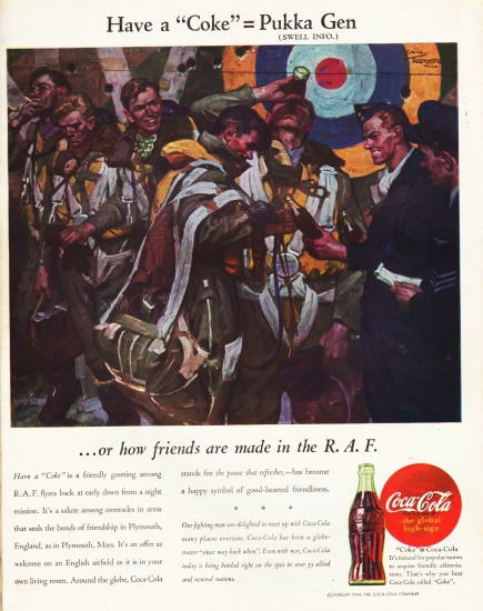 Vintage Coke ad 1944 illustration soldiers