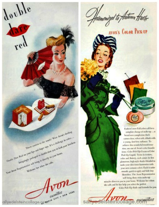 vintage Advertising Avon illustrations women 1940s