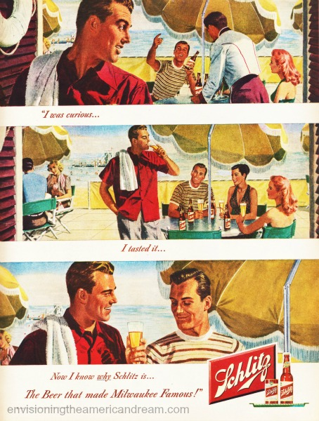 beer schlitz ad illustration men gay themed