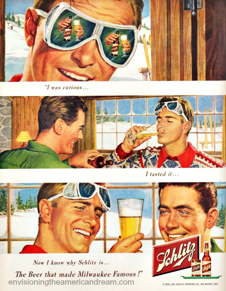 illustration men skiers 1950
