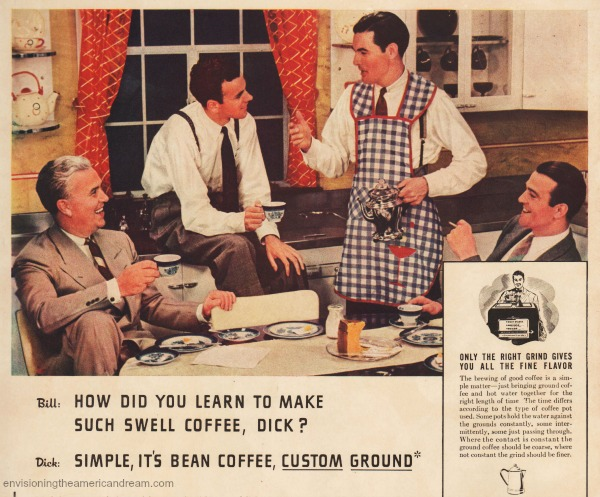 vintage ad coffee men in aprons 1940s