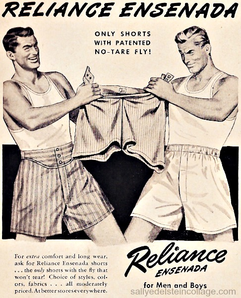 vintage illustration men in underwear ad