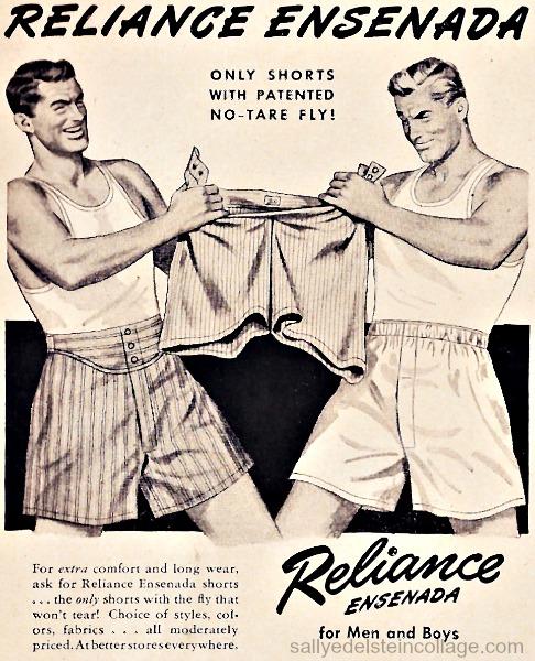 vintage illustration men in underwear ad