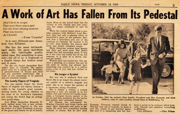 Jackie Kennedy Marriage  Daily News newspaper article
