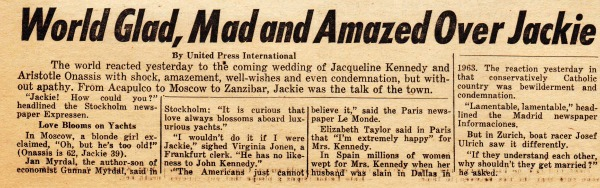 Kennedy Jackie Marriage reaction newspaper clipping