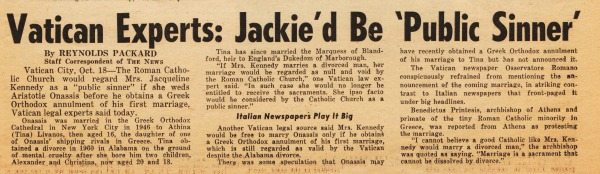 Jackie Kennedy Marriage Vatican reacts newspaper article