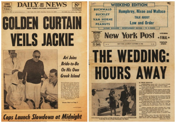 Jackie Kennedy  Marriage to Aristotle Onassis Newspaper headlines