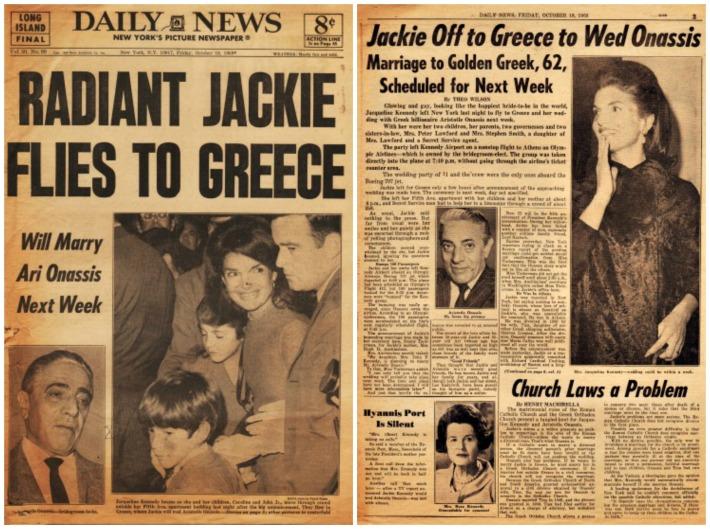 Kennedy Jackie Wedding newspaper 1968