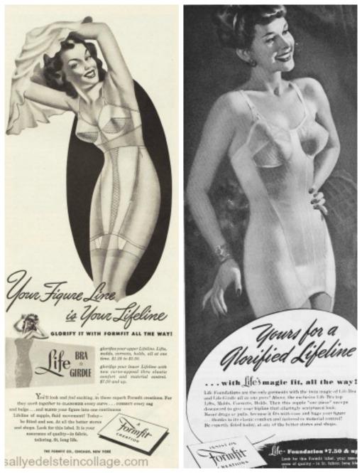 illustration lingerie bras girdles formfit 1940s ads
