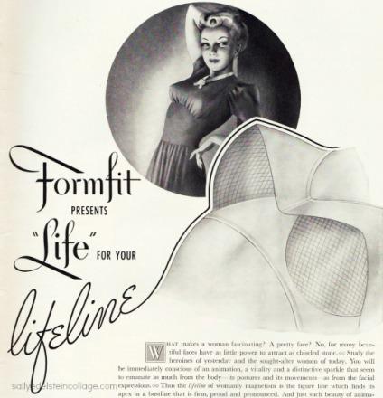 Vintage bras illustration woman 1940