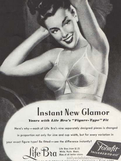 vintage illustration woman bullet bra  formfit 1940s