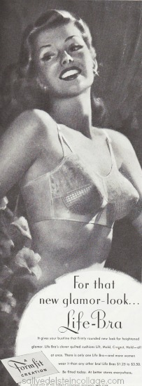 Vintage illustration woman in bra formfit 1948 ad