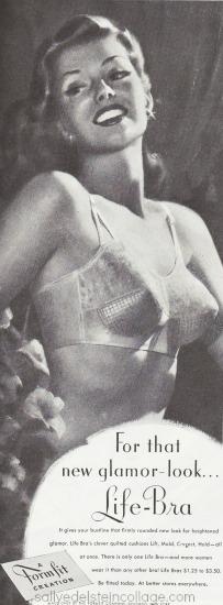 Vintage illustration woman in bra formfit 1948 ad