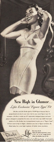 Vintage illustration woman in bra and girdle Lingerie Formfit 1940s