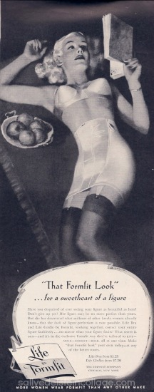 vintage illustration woman bra lingerie formfit 1940s