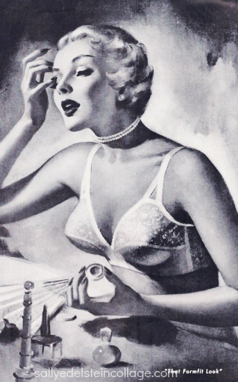 vintage illustration woman in bra lingerie formfit 1950 ad