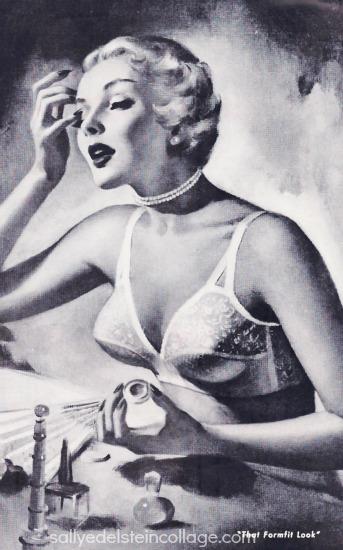 vintage illustration woman in bra lingerie formfit 1950 ad