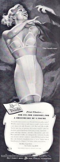 vintage illustration woman in bra  formfit ad 1950s