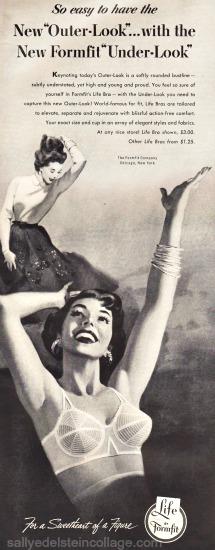 vintage illustration woman in bra ad Formfir 1950s