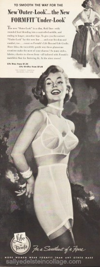 vintage illustration woman in bra and girdle 1950s ad