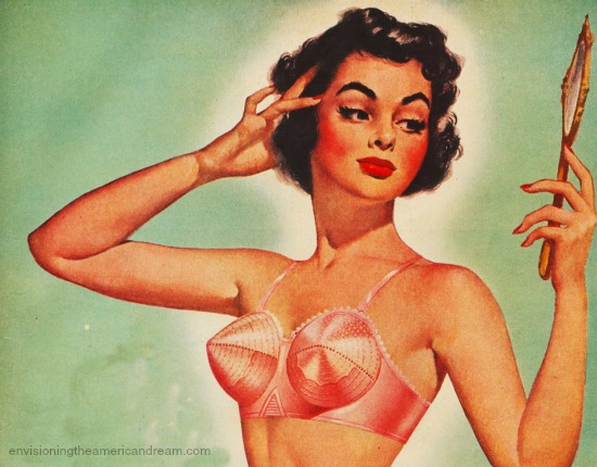 Vintage illustration woman in bullet bra looking in mirror 1950s
