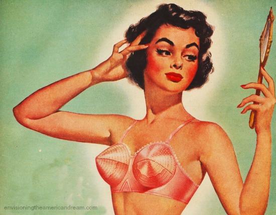 Vintage illustration woman in bullet bra looking in mirror 1950s